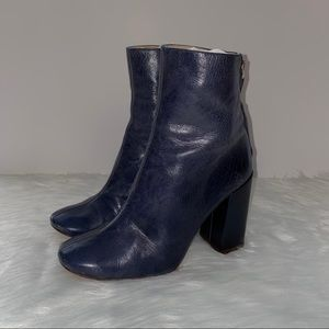 Zara Basic Navy Blue Leather Ankle Heeled Boots